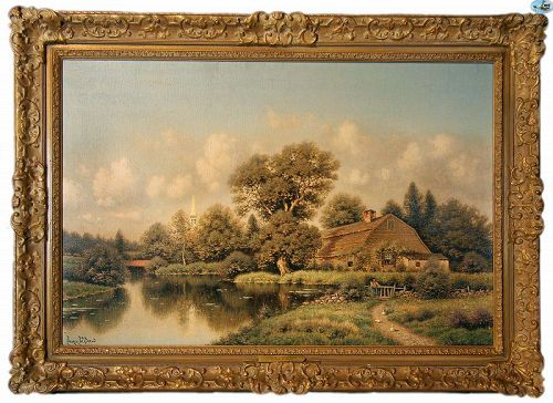 Antique Signed George W. Drew Oil Painting of �Spring in Connecticut�