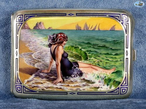 1900 Antique German 'Giovanni Guerzoni' Silver & Enamel Cigarette Case