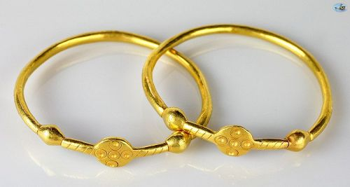 Pair of Byzantine Solid 22K Gold Bracelets/Bangles, 6-8th C. AD