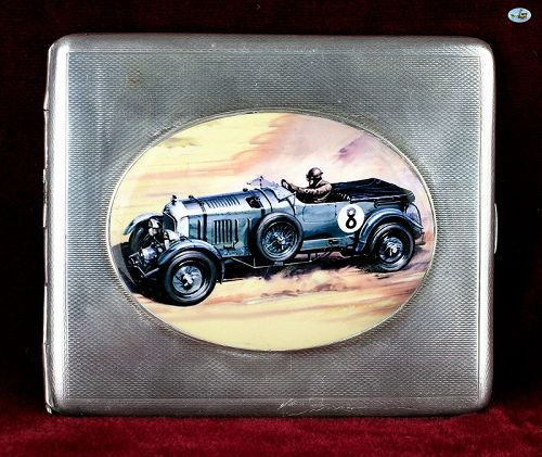 1930 Slipway Blower Bentley Silver Enamel Pictorial Cigarette Box