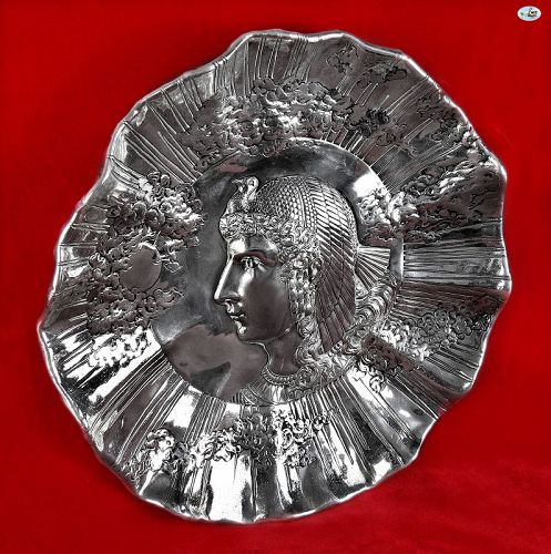 1850s American HM Gorham Co. Silver Decorative Plate of Cleopatra