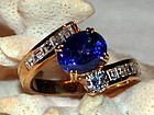 Cornflower Blue Genuine Sapphire & Diamond Ring 18K.
