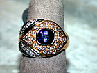 Blue Sapphire & Diamond 2-Tone Solid 18K. Gold Ring
