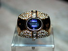 Genuine Blue Sapphire & Diamond Ring Solid 18K. Gold