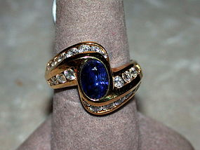 Ceylon Blue Sapphire & Diamond Solid Gold Ring 18K.