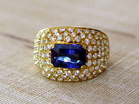 Octagon Genuine Blue Sapphire-Diamond Ring 18K. Gold