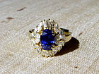 Finest Cornflower Blue Sapphire-Diamond Ring 18K. Gold