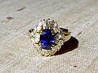 Finest Cornflower Blue Sapphire-Diamond Ring 18K. Gold