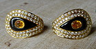 Genuine Yellow Sapphire-Onyx-Diamond Earrings 18K.