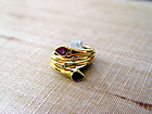 Toi-et-Moi 18K. Gold Ring w. Sapphire-Ruby-Diamonds