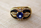 Genuine Ceylon Blue Sapphire-Diamond-Onyx 18K. Ring