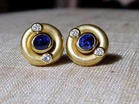 18K. Gold Earrings with Ceylon Blue Sapphires-Diamonds