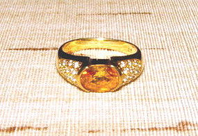 Genuine Ceylon Yellow Sapphire-Diamond Ring 18K. Gold