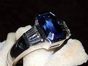 Genuine Octagon Ceylon Blue Sapphire-Diamond Ring 18K.