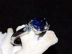Genuine & Very Fine Ceylon Blue Sapphire-Diamond Ring