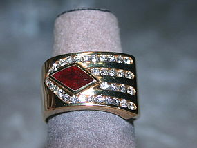 Stunning Fancy Cut Ruby-Diamond Ring 18K. Solid Gold