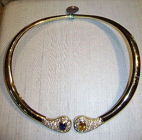Spectacular Blue and Yellow Sapphire/Diamond Necklace