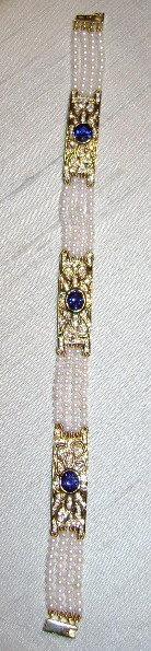 Finest Cultured Pearl-Blue Sapphire-Diamond Bracelet