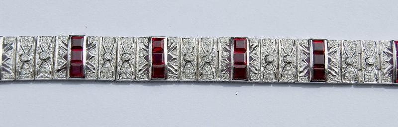 Exquisite Genuine Ruby-Diamond Bracelet White Gold 18K