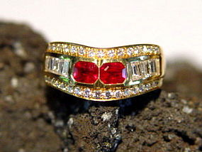 18K. Gold Rind set with 2 Genuine Rubies & Diamonds