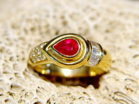 Genuine Ruby & Diamond Ring 18K. Solid Gold
