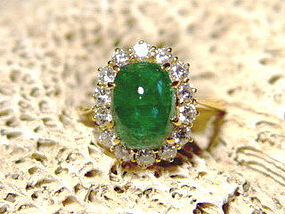 Cabochon Emerald and Diamond Ring 18K. Gold