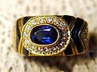 Genuine Blue Sapphire, Diamond, Onyx Ring 18K. Gold