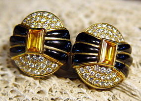 Solid 18K. Earrings: Yellow Sapphire/Pave Diamonds/Onyx