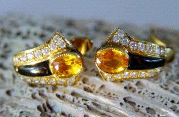 Genuine Ceylon Yellow Sapphire/Diamond/Onyx Earrings