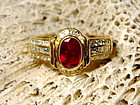 Solid 18K. Gold Ring set with Ruby and Diamonds