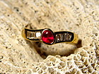 Solid 18K. Gold Ring with Genuine Ruby and Diamonds