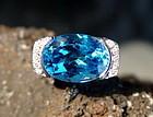 Very Large Blue Topaz-Diamond Ring 18K. White Gold