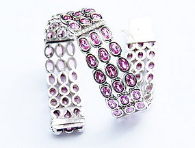 Stupendous Pink Sapphire-Diamond Bracelet 18K Gold
