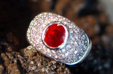 Solid 18K. White Gold Ring with Ruby & Pave Diamonds