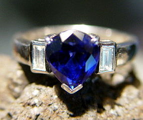 Pear shaped Ceylon Blue Sapphire-Diamond  Ring 18K.