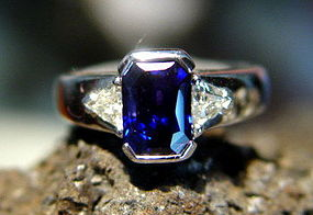 Genuine Blue Sapphire-Diamond Ring 18K. White Gold