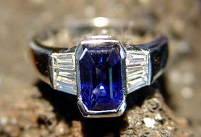 Solid 18K. White Gold Ring with Blue Sapphire-Diamonds