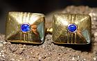 18K. Gold Cufflinks with genuine Blue Ceylon Sapphires