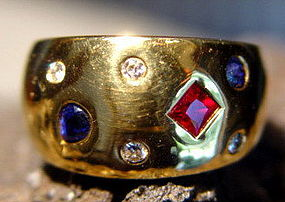 3-Gems 18K. Solid Gold Ring: Diamond-Sapphire-Ruby