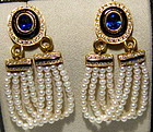 18K. Earrings with Baby Pearls, Diamonds-Sapphire-Onyx