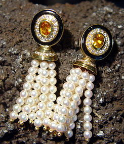 18K. Gold Pearl-Yellow Sapphire-Diamond Tassel Earrings