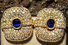 Pave Diamond & Blue Sapphire Solid 18 K Gold Earrings