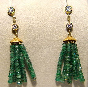 18K. Gold Tassel Earrings w. Emeralds & Diamonds