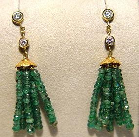 18K. Gold Tassel Earrings w. Emeralds & Diamonds
