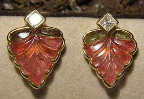 18K. Earrings with 2-Tone Tourmaline- Princess Diamonds