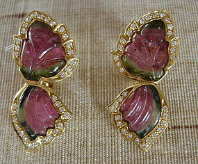 18K. Gold Earrings with 2-Tone Tourmaline-Diamonds