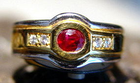 Solid 18K. 2-Tone Gold Ring with Genuine Ruby-Diamonds