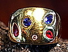 3-Gem Solid 18K. Gold Ring  Diamonds-Rubies-Sapphires