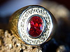 Solid 18K. Gold Ring set with Thai Ruby & Diamonds