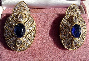 Blue Cabochon Sapphires & Diamond Earrings 18K. Gold